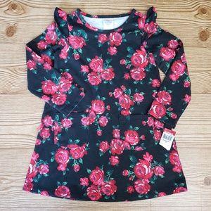 NWT Wonder kids black rose pocket long sl dress 3T
